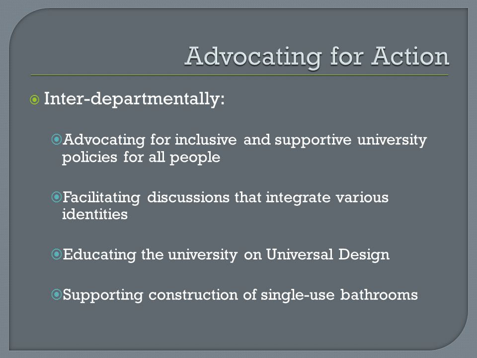 Advocating for Action Inter-departmentally: