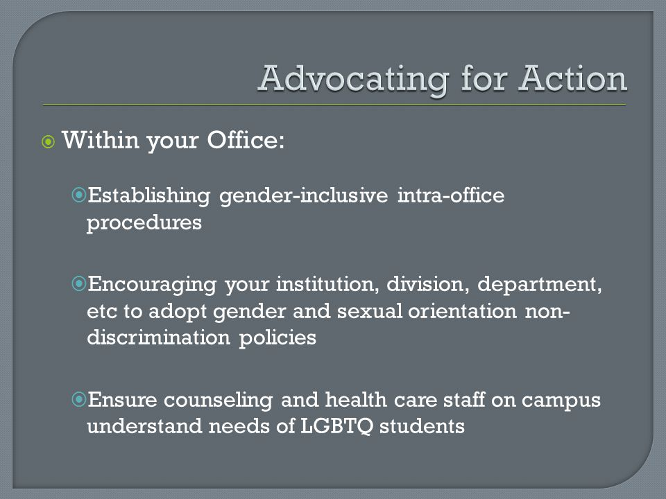 Advocating for Action Within your Office: