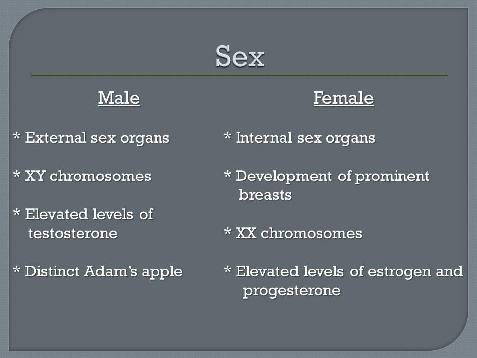 Sex Male Female * External sex organs * XY chromosomes