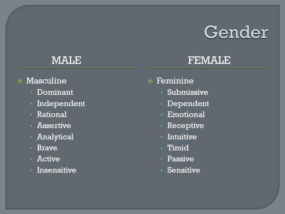 Gender Male Female Masculine Feminine Dominant Independent Rational