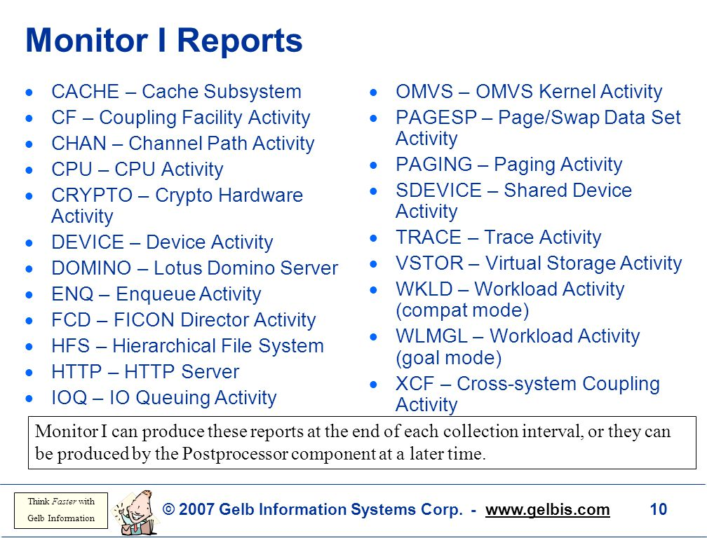 Monitor I Reports CACHE – Cache Subsystem