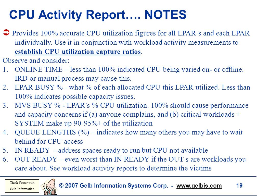 CPU Activity Report…. NOTES