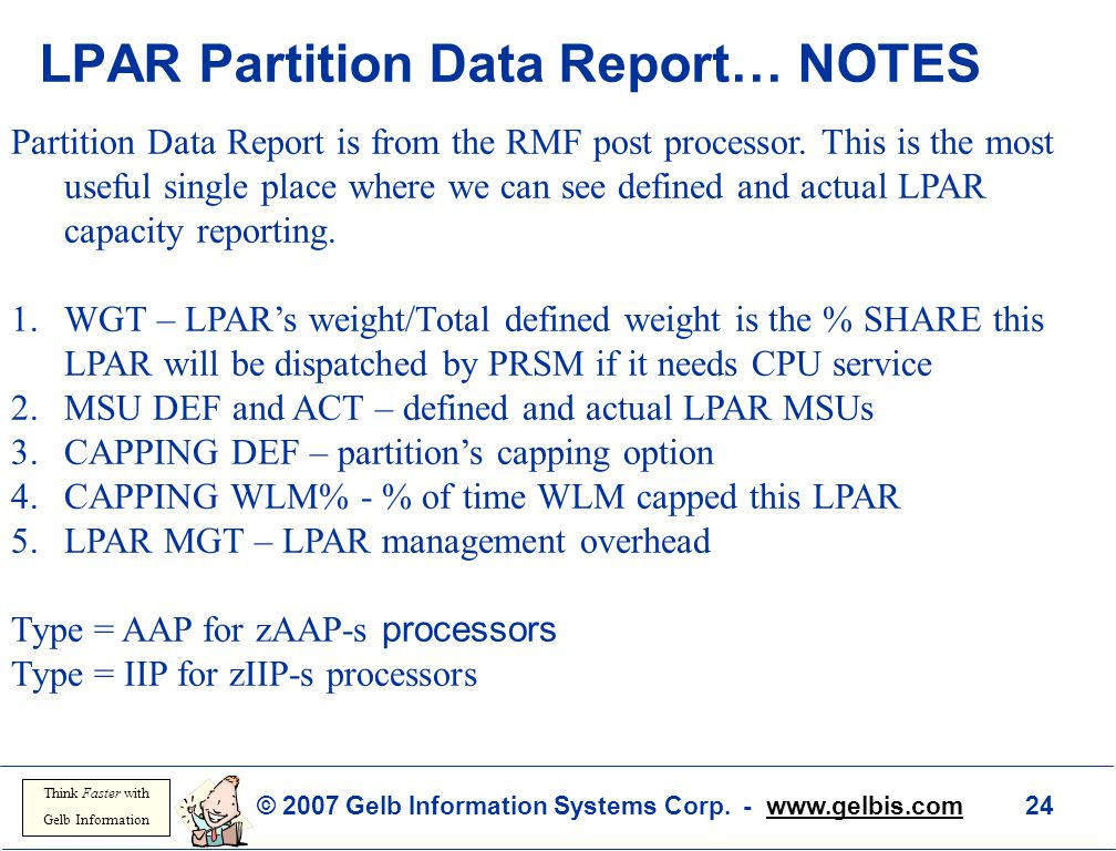 LPAR Partition Data Report… NOTES