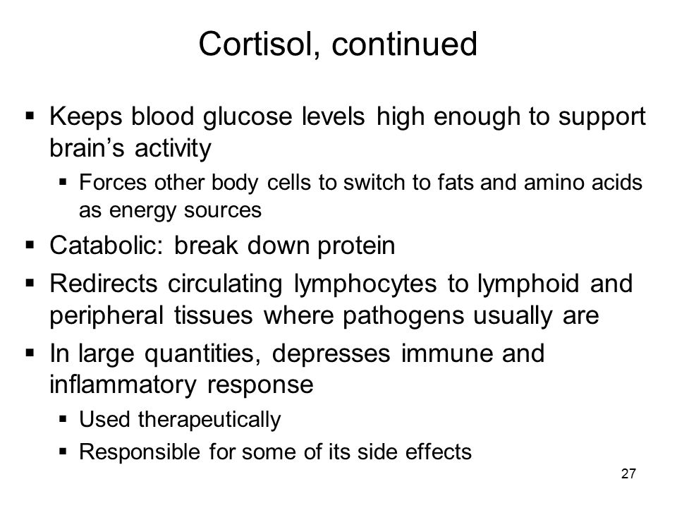 Cortisol, continued Keeps blood glucose levels high enough to support brain's activity.