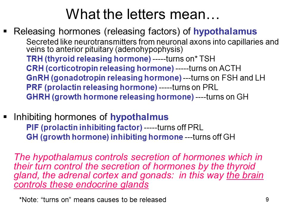 What the letters mean… Releasing hormones (releasing factors) of hypothalamus.