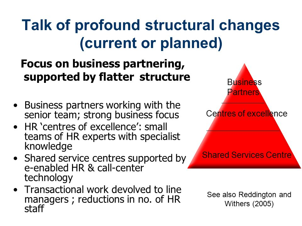 Talk of profound structural changes (current or planned)