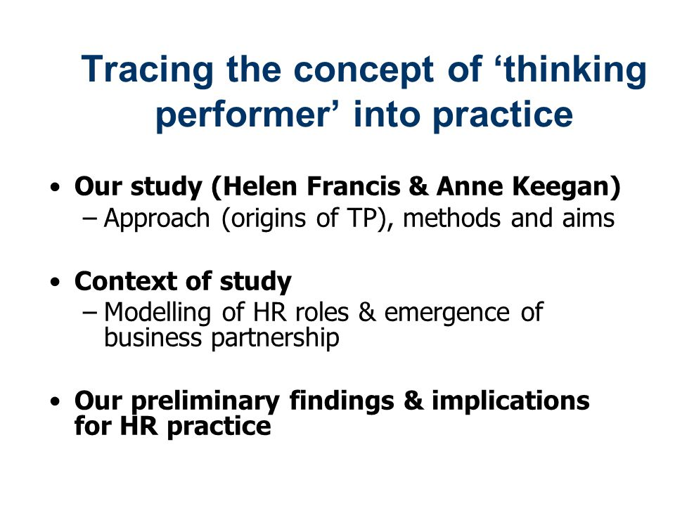 Tracing the concept of 'thinking performer' into practice