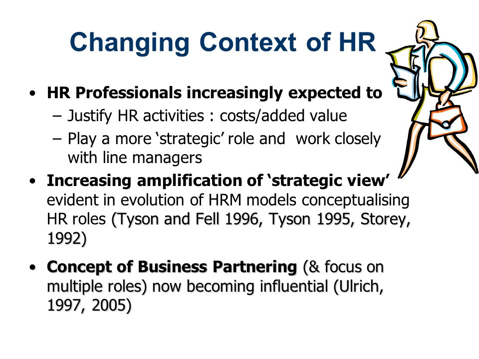Changing Context of HR HR Professionals increasingly expected to