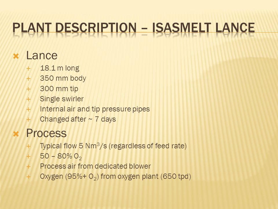 Plant Description – Isasmelt Lance
