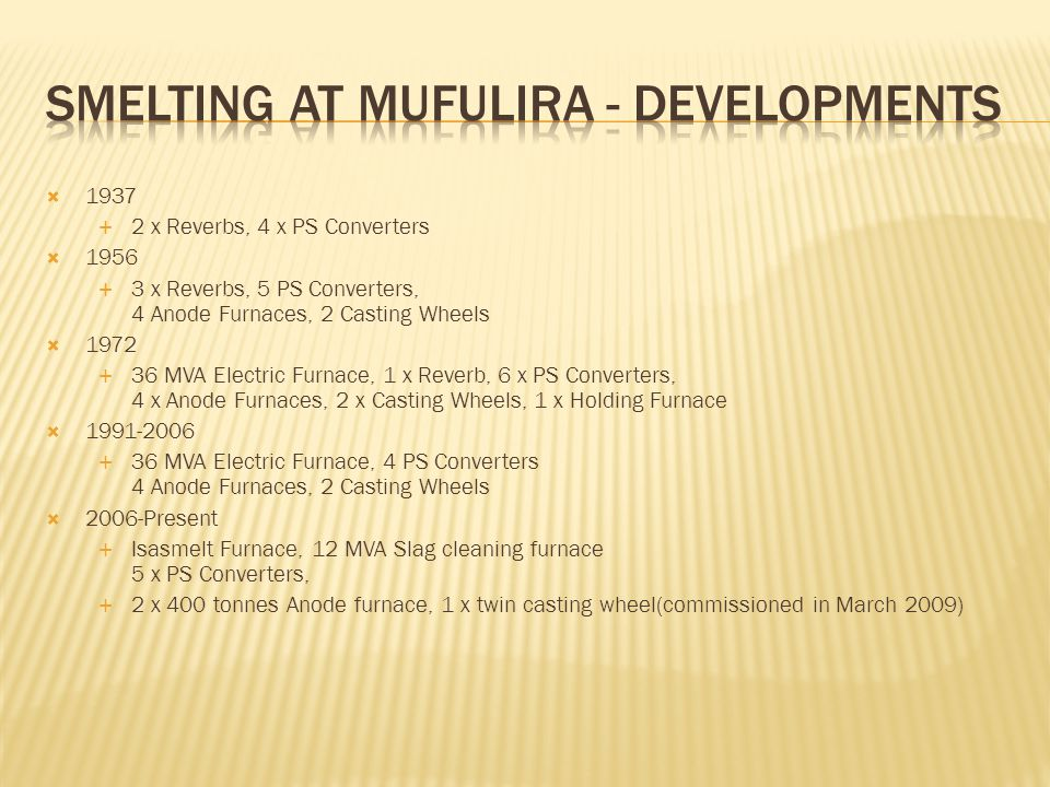 Smelting at Mufulira - Developments
