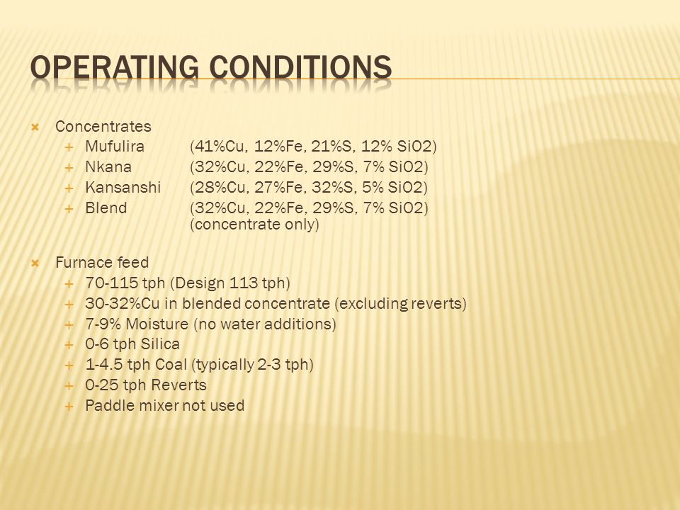 Operating Conditions Concentrates