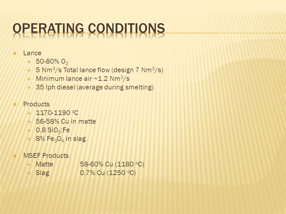 Operating Conditions Lance 50-80% O2