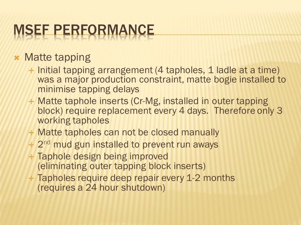 MSEF Performance Matte tapping