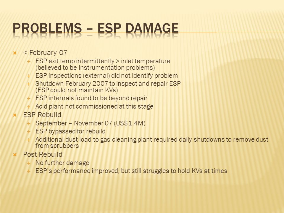 Problems – ESP Damage < February 07 ESP Rebuild Post Rebuild