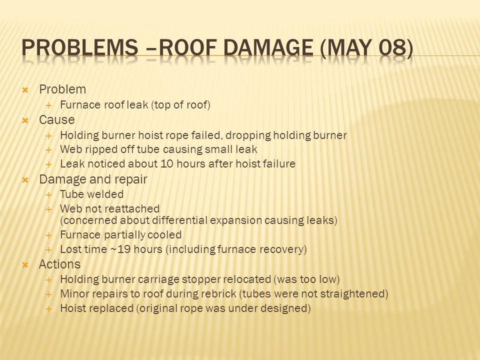 Problems –Roof Damage (May 08)