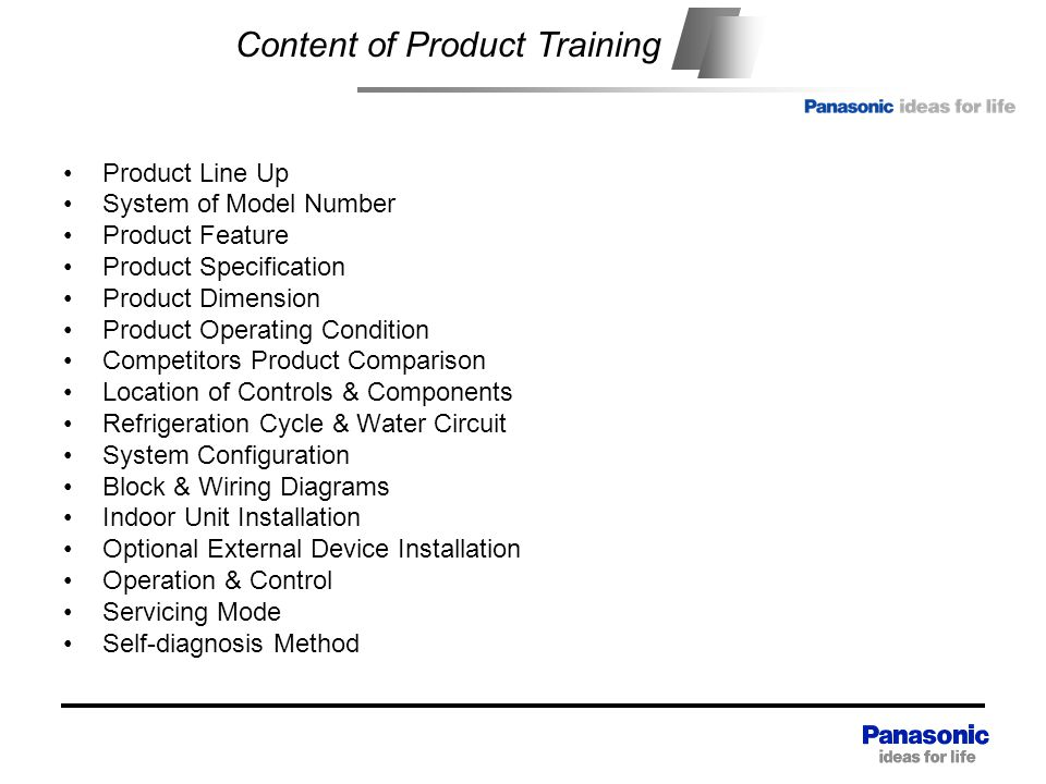 Content Content of Product Training Product Line Up