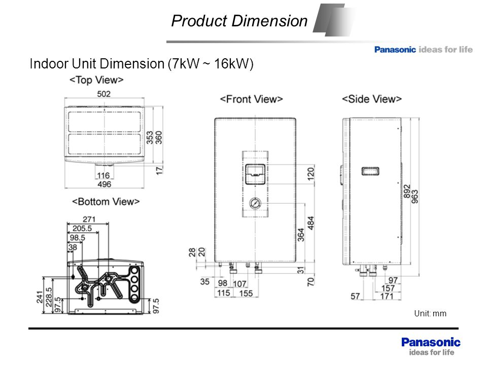 Product Dimension Indoor Unit Dimension (7kW ~ 16kW)