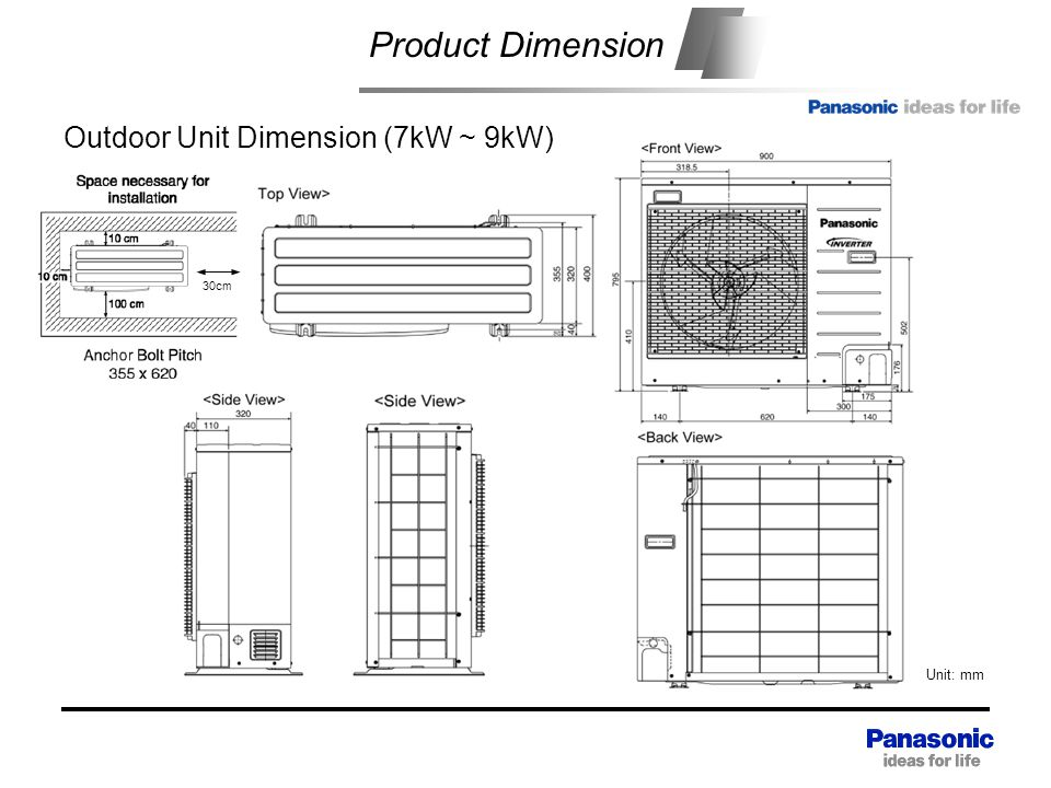 Product Dimension Outdoor Unit Dimension (7kW ~ 9kW)