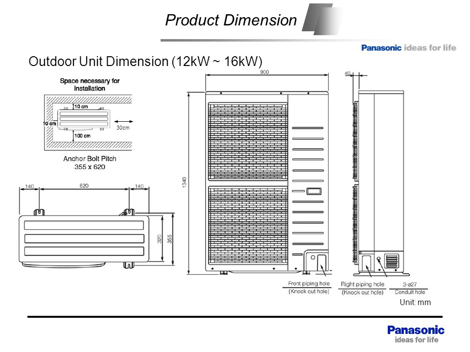 Product Dimension Outdoor Unit Dimension (12kW ~ 16kW)
