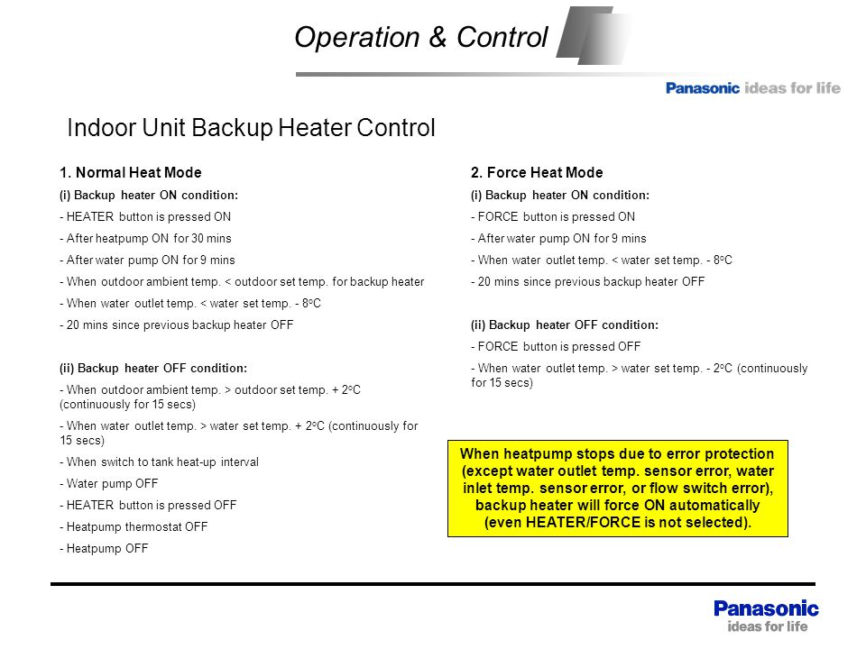Operation & Control Indoor Unit Backup Heater Control