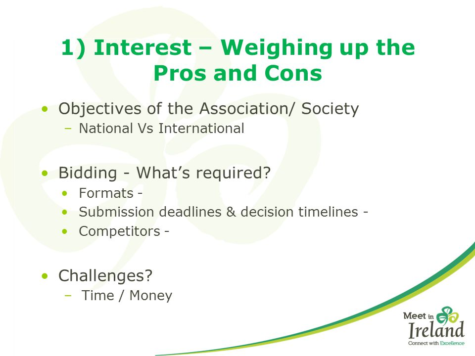 1) Interest – Weighing up the Pros and Cons