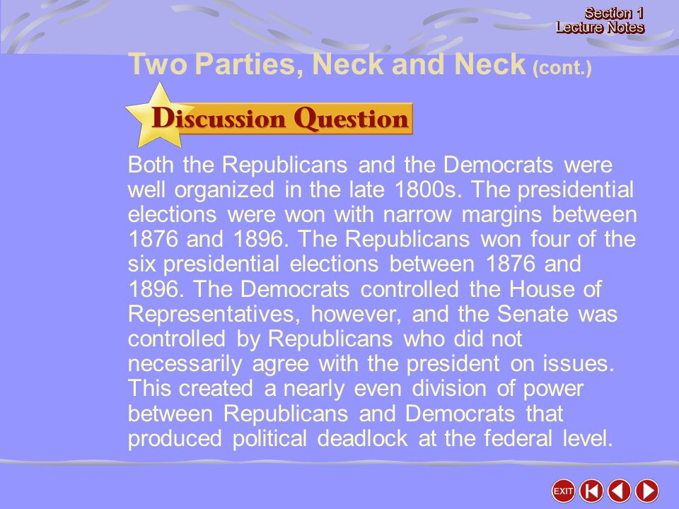 Two Parties, Neck and Neck (cont.)