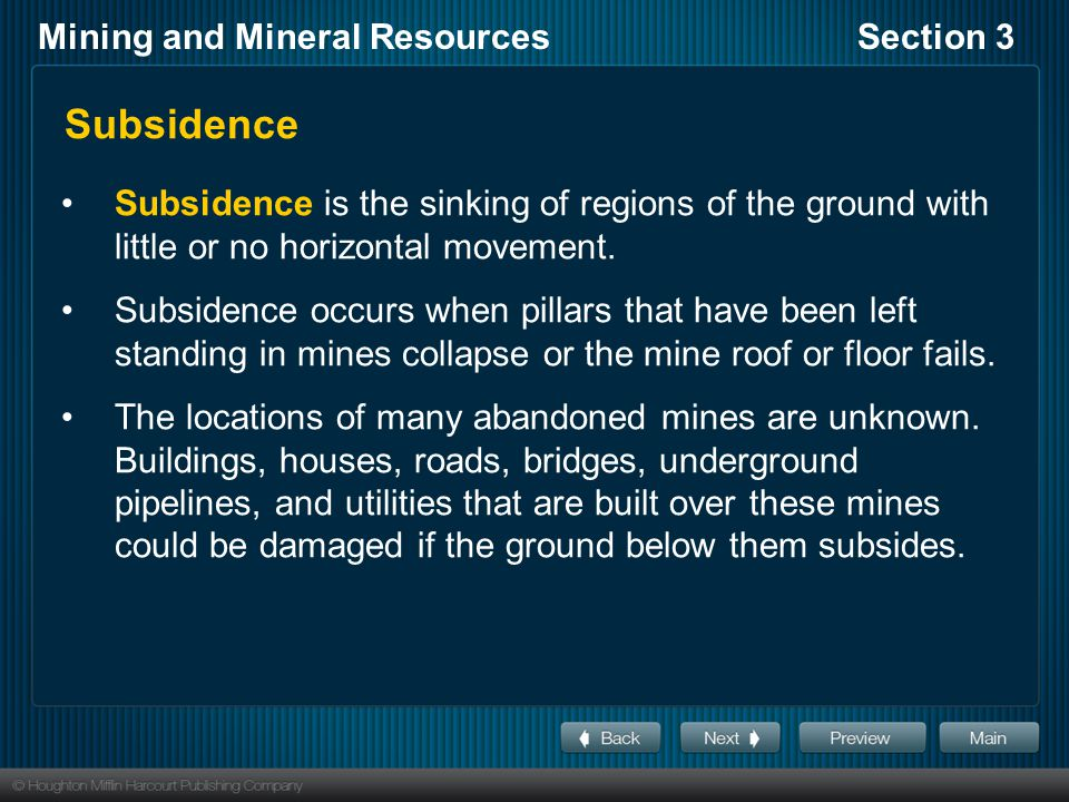 Subsidence Subsidence is the sinking of regions of the ground with little or no horizontal movement.