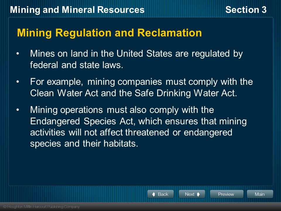 Mining Regulation and Reclamation