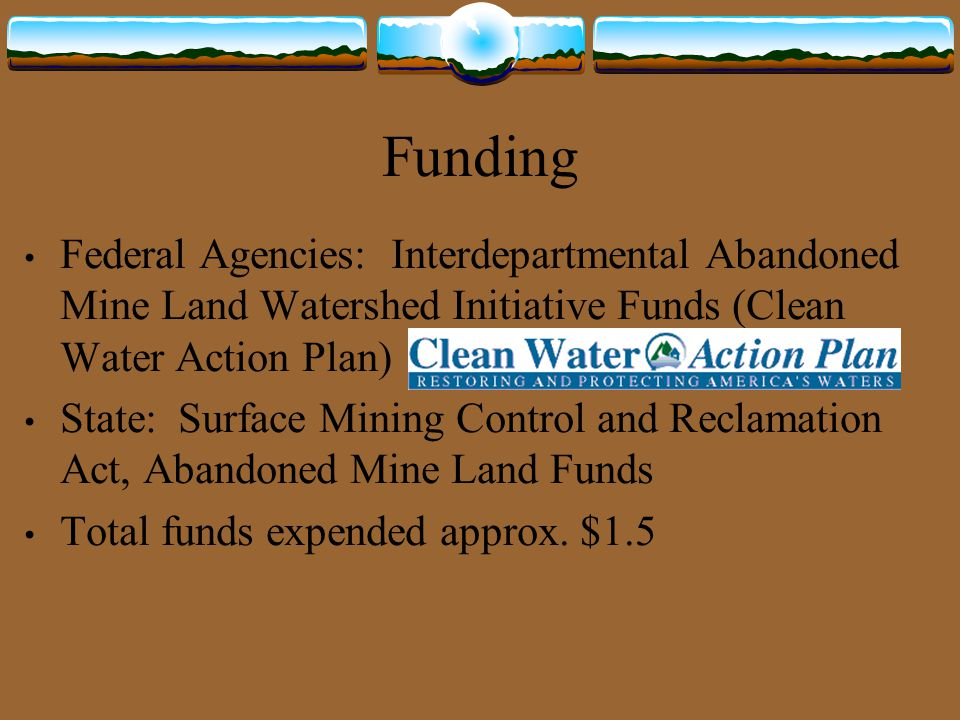 Funding Federal Agencies: Interdepartmental Abandoned Mine Land Watershed Initiative Funds (Clean Water Action Plan)