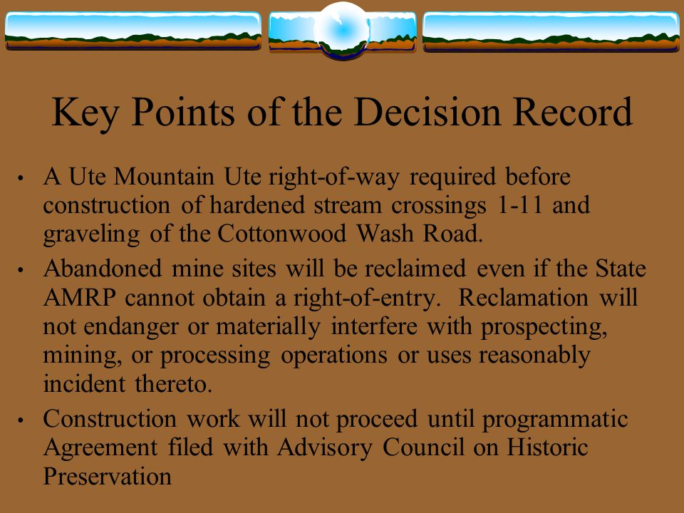 Key Points of the Decision Record