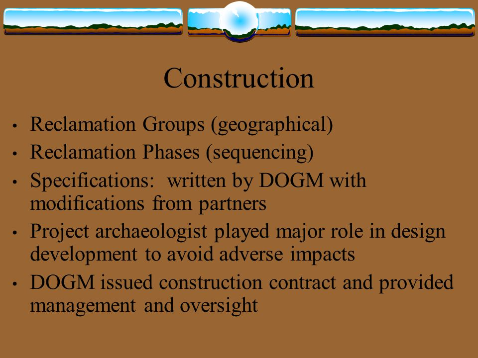 Construction Reclamation Groups (geographical)