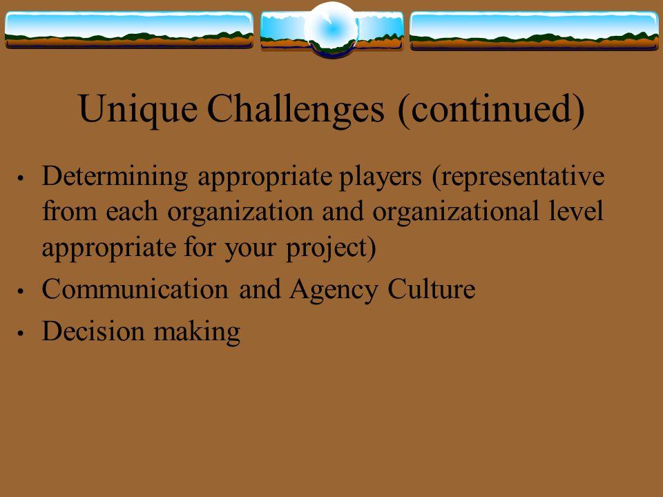Unique Challenges (continued)