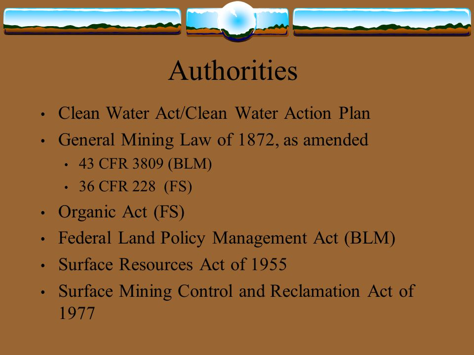 Authorities Clean Water Act/Clean Water Action Plan