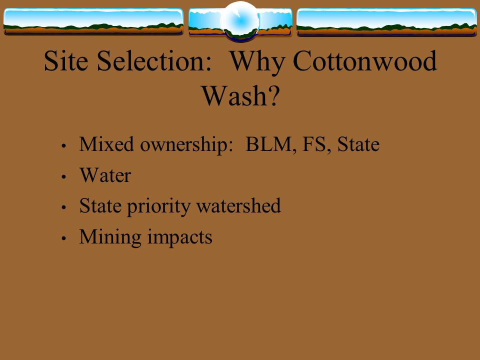 Site Selection: Why Cottonwood Wash