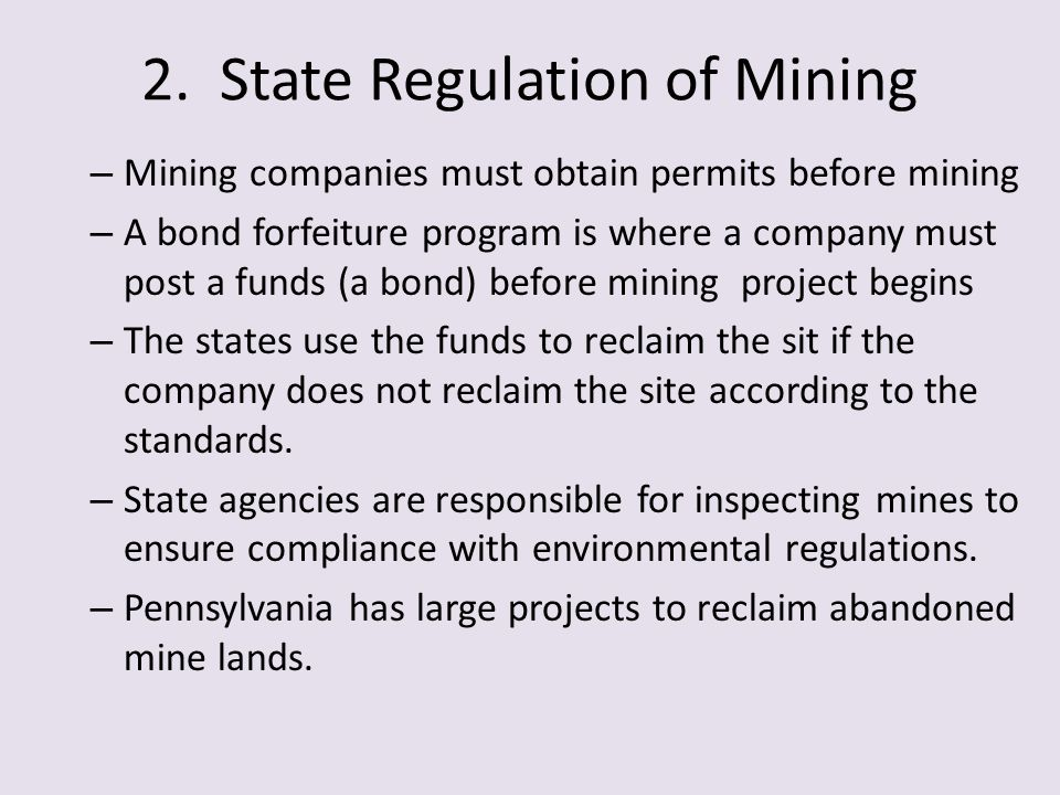 2. State Regulation of Mining