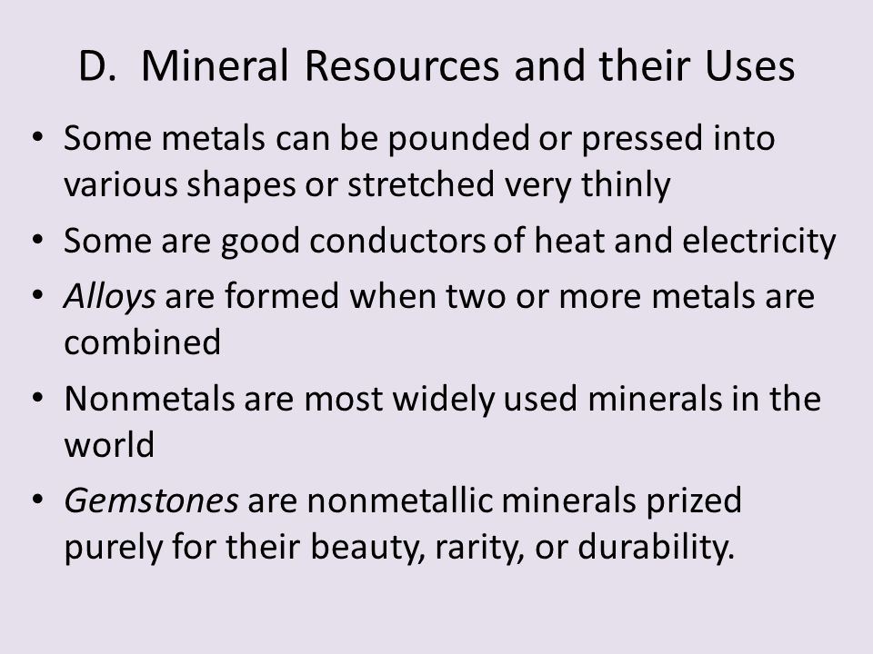 D. Mineral Resources and their Uses