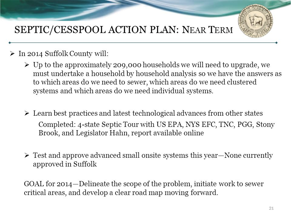 SEPTIC/CESSPOOL ACTION PLAN: Near Term