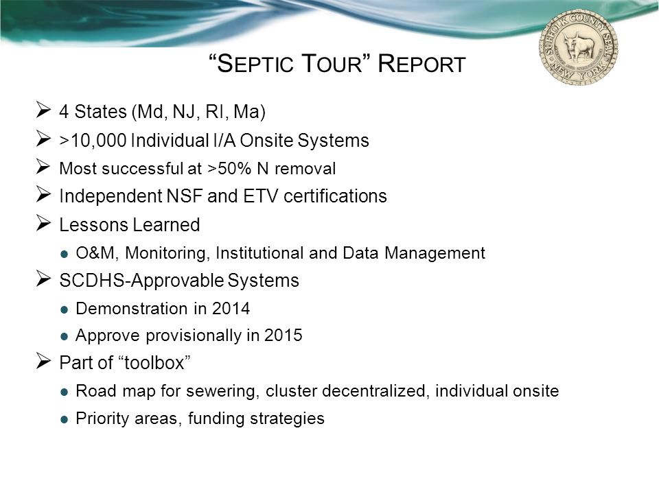Septic Tour Report 4 States (Md, NJ, RI, Ma)