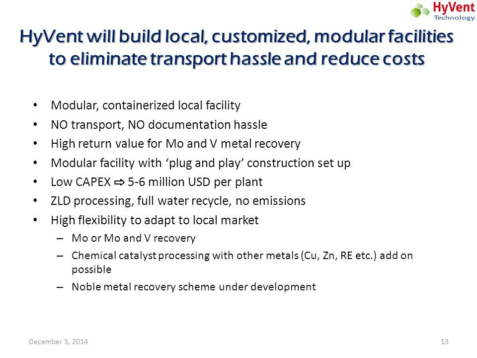 HyVent will build local, customized, modular facilities to eliminate transport hassle and reduce costs