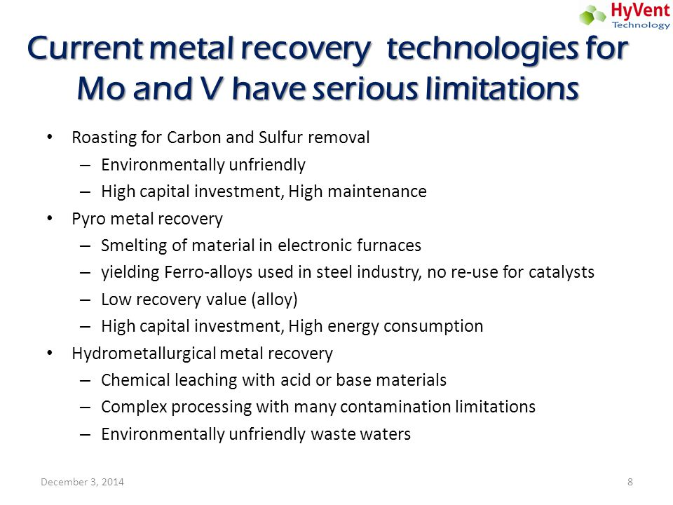 Current metal recovery technologies for Mo and V have serious limitations