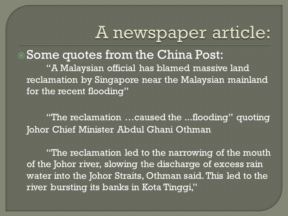 A newspaper article: Some quotes from the China Post:
