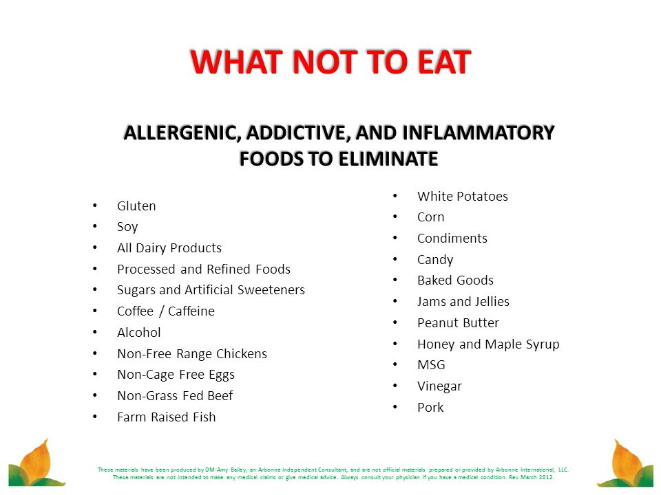 ALLERGENIC, ADDICTIVE, AND INFLAMMATORY FOODS TO ELIMINATE