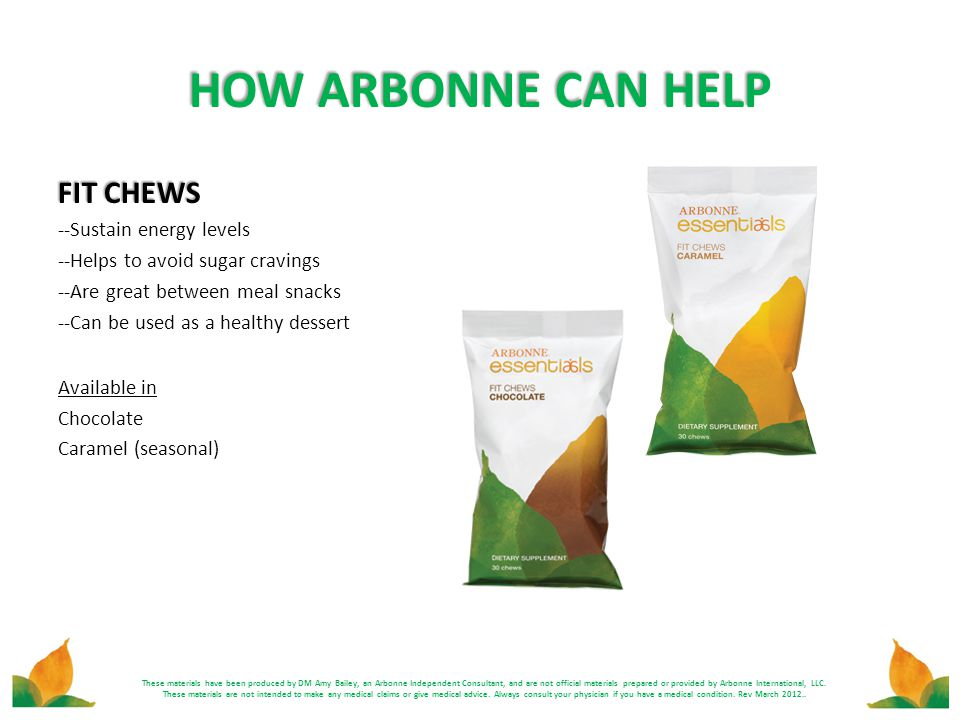 HOW ARBONNE CAN HELP FIT CHEWS --Sustain energy levels