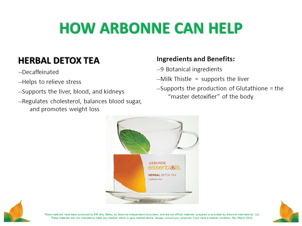 HOW ARBONNE CAN HELP HERBAL DETOX TEA Ingredients and Benefits: