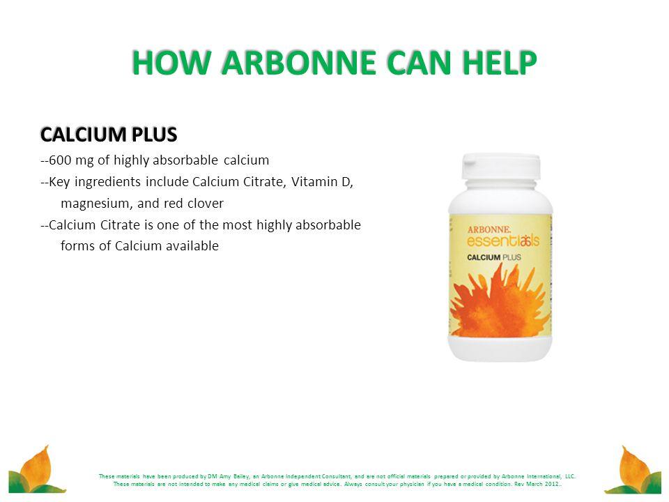 HOW ARBONNE CAN HELP CALCIUM PLUS