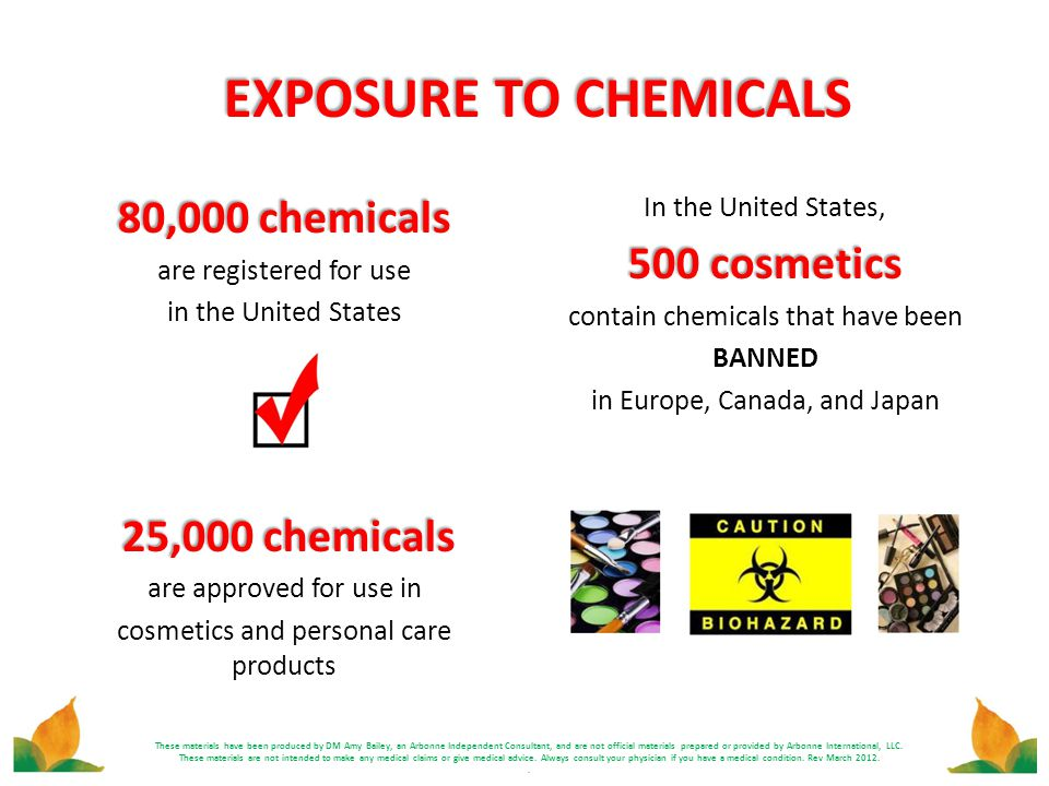 EXPOSURE TO CHEMICALS 80,000 chemicals 500 cosmetics 25,000 chemicals