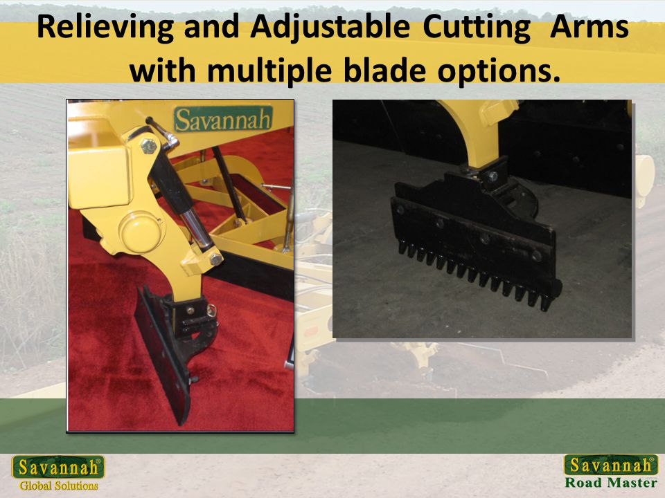 Relieving and Adjustable Cutting Arms with multiple blade options.