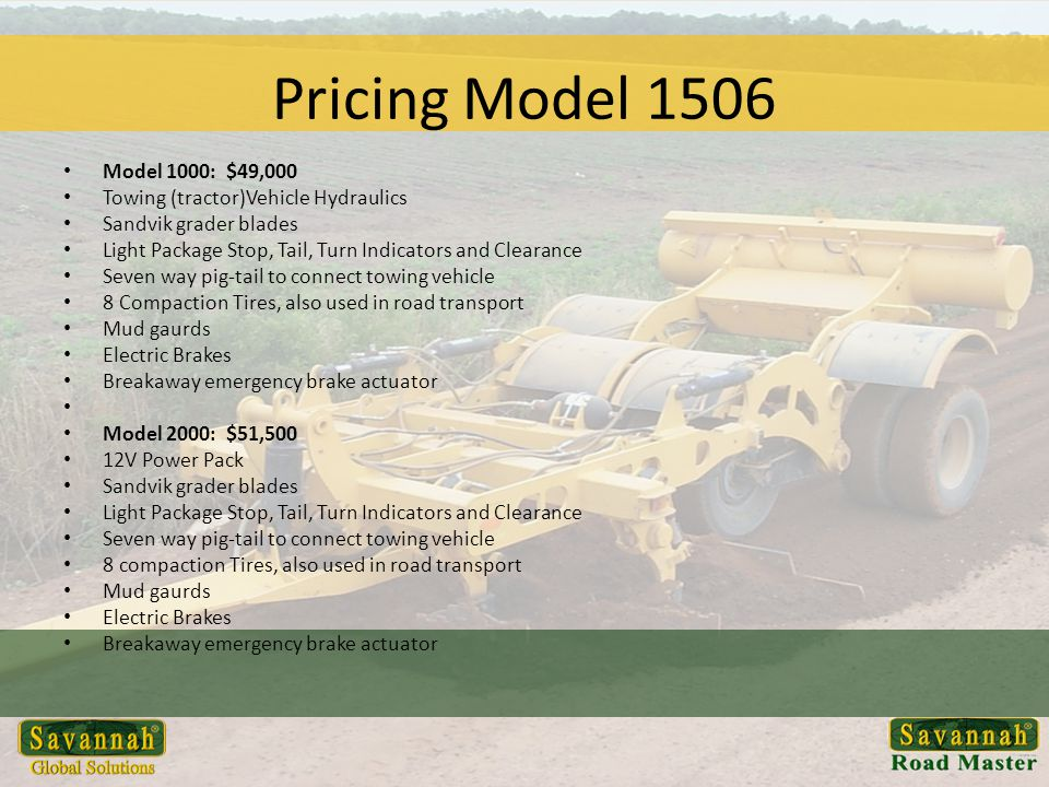 Pricing Model 1506 Model 1000: $49,000. Towing (tractor)Vehicle Hydraulics. Sandvik grader blades.
