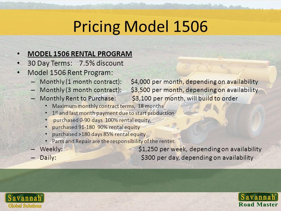 Pricing Model 1506 MODEL 1506 RENTAL PROGRAM