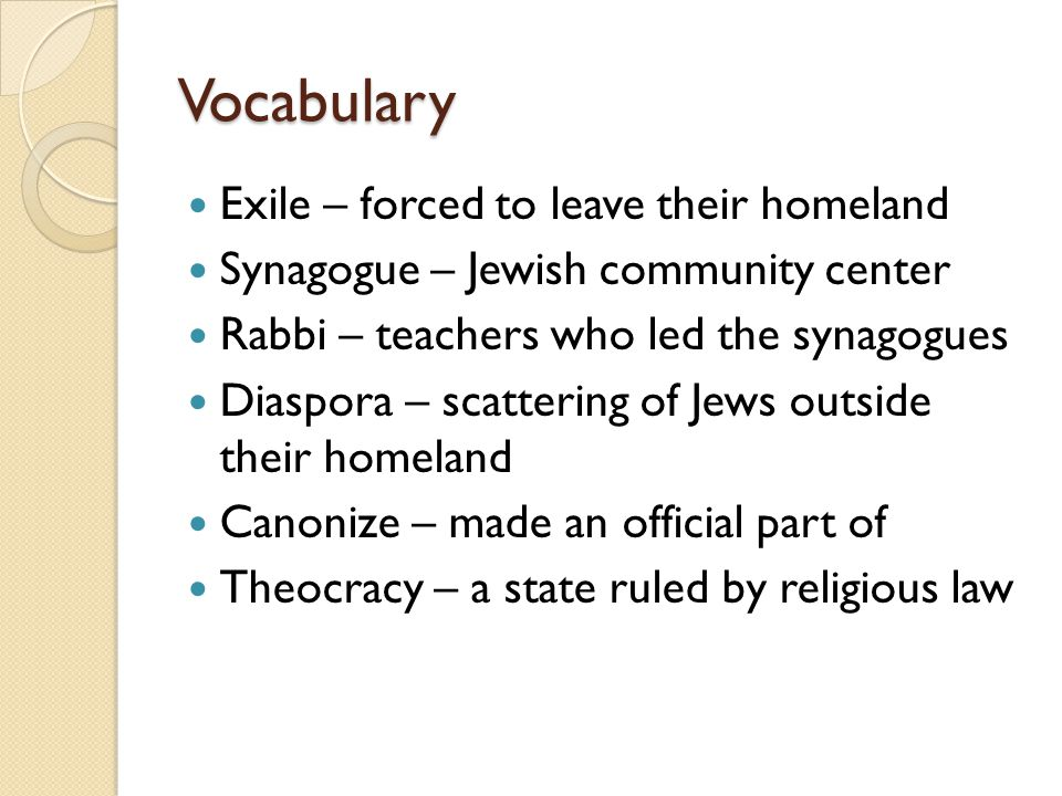Vocabulary Exile – forced to leave their homeland